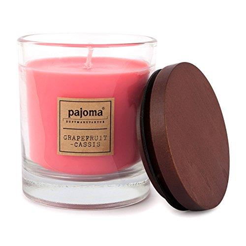 Pajoma geurkaars Grapefruit-Cassis, 180 g, in glas met houten deksel, NIEUW Premium Edition, voor ongeveer 25 uur