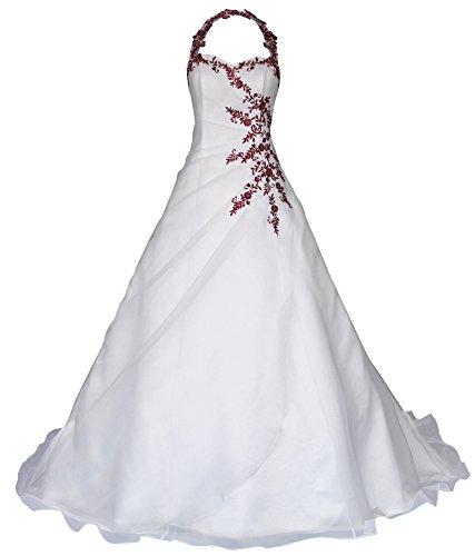 Romantic-Fashion Brautkleid Hochzeitskleid Neckholder Weiß Modell W021 A-Linie Satin Perlen Pailletten bordeauxrote Stickerei DE Größe 34