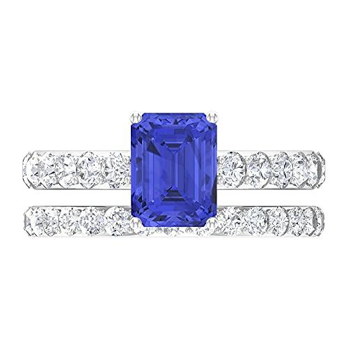 Anillo de compromiso solitario D-VSSI Anillo de tanzanitas en forma de octágono de 6 x 8 mm, conjunto de anillos de boda, 14K Oro blanco, tanzanita, Size:EU 66