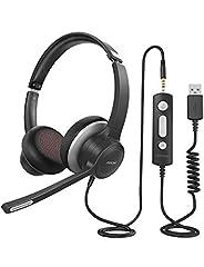 Zestaw słuchawkowy MPOW PC HC6, 3,5 mm zestaw słuchawkowy Jack Mobile Phone, zestaw słuchawkowy USB z mikrofonem z redukcją szumów, zestaw słuchawkowy do rozmów skype, webinar, homeoffice, gaming, e-learning i muzyka, sterowanie połączeniami, ultra comfort
