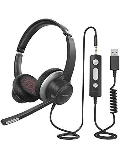Mpow 328 Cuffie USB 3.5 mm per Computer con Microfono, Cuffie Business Leggere con Scheda Audio per La Riduzione del Rumore Controllo in Linea per Skype MS Team Zoom PC Cellulare