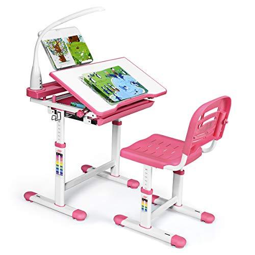 Giantex Kinderschreibtisch mit Stuhl, Kinderschreibtisch-Set mit Lampe & Buchständer, Kindertisch höhenverstellbar & neigungsverstellbar, Schülerschreibtisch Jugendschreibtisch Kinder (rosa)