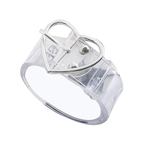KaariFirefly Modischer Taillengürtel für Damen, transparent, langlebig, niedlich, rund, Herz, quadratisch, für Jeans, Hosen, Kleid, Silbernes Herz