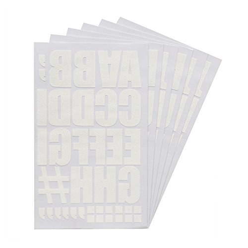 Magfok Iron on Transfer 2 Inch White Flock Letters, 6 Sheets (Black or White Optional)