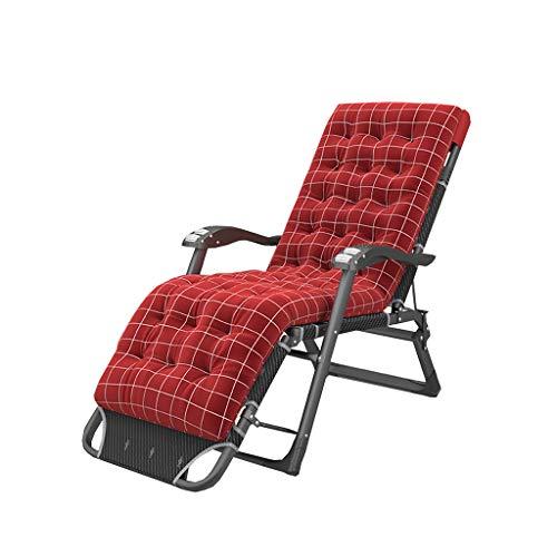 N / A Folding Rocking chairSillón Reclinable Plegable, Silla de Oficina Ajustable con Reposabrazos de Masaje, Almuerzo/Balcón Perezoso/Camping/Vacaciones/Silla De Gravedad Cero(Color:Rojo)