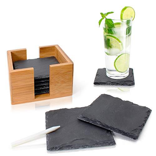 Amazy Schiefer Untersetzer Set (8 Stück) inkl. Kreidestift – Dekorative Glasuntersetzer aus 100% Natur Schieferplatten mit praktischem Halter aus edlem Bambus – Tolle Geschenkidee (eckig | 10x10 cm)