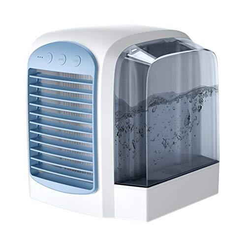 Robots master Mini Climatiseur Ventilateur USB Refroidisseur d'air de Charge de Bureau Ventilateur Troisième Vitesse Home Office Mute Eau de Refroidissement du Ventilateur (Color : Blue)