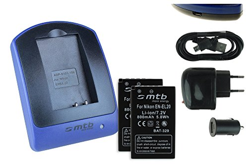 2 Baterìas + Cargador (USB/Coche/Corriente) para EN-EL20 / Nikon 1 AW1, 1J1, 1J2, 1J3,...