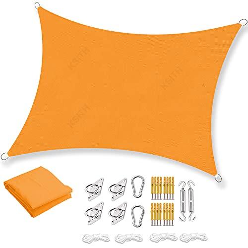 Toldo Vela De Sombra, Protección UV HDPE Transpirable Toldo Oxford Prueba de Lluvia, con Kits de Montaje, para Jardín Patio Exteriores Pergola Decking- Yellow   2x4m(7x13ft)