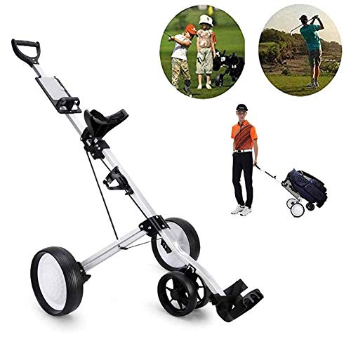 Buy Discount Professional Golf Push Cart Swivel Foldable 4 Wheels Pull Cart Golf Carrier Trolley with Adjustable Putter Handle, Scorecard and Multifunction Panel, Easy to Carry Light Golf Car