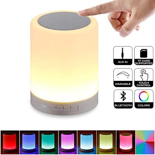 Solucky Nachtlampje voor kinderen, bluetooth-luidspreker, nachtlampje, dimbaar, smart touch led, muziekspeler, 7 kleuren wisselen, USB-bureaulamp