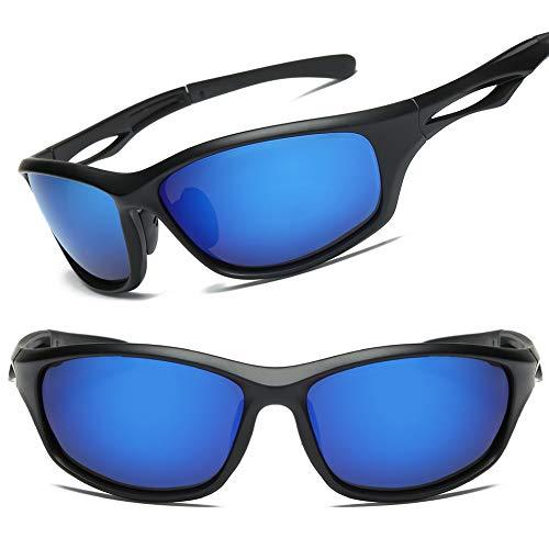 BESLIME Occhiali da Sole Sportivi Polarizzati, Uomo Donna Adolescente Ciclismo Driving Baseball Golf Running UV 400 Protezione - Specchio Nero con Cornice Blu