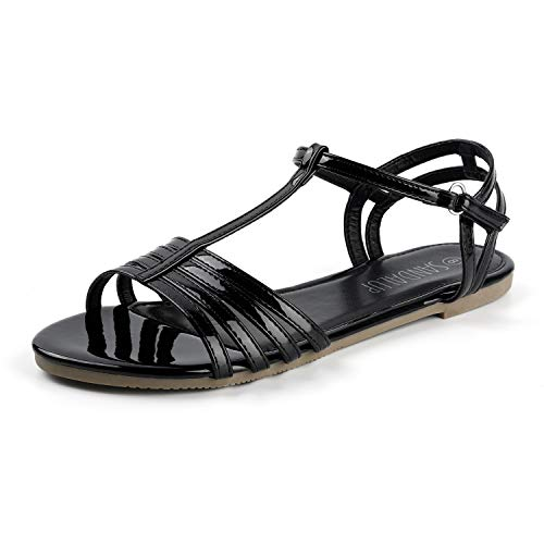 SANDALUP Flat Sandals with Velcro Black 08