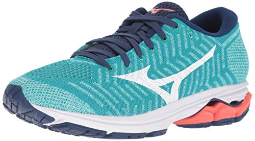 Mizuno Women's Wave Rider 22 Knit Running Shoe, peacock blue-fiery coral, 12 B US