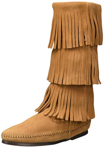 Minnetonka Women's 3-Layer Fringe Boots 7 M Taupe