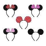 Orecchie topolino minnie mickey 5 pezzi di è inclusa. Minnie Mickey Mouse Orecchie adatto per adulti e bambini. Minnie Mickey Mouse Fascia sono realizzate in tessuto super morbido, resistente e leggero, comodo da indossare. Minnie Mickey Mouse Cerchi...