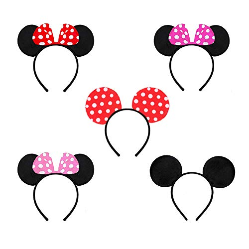 rosepartyh Minnie Mickey Mouse Ohren Haarreifen mit Mini Maus Ohren Schleife 5 Pcs für Kinder und Erwachsene Christmas Birthday Hair Accessories Baby Shower Valentine's Day Halloween