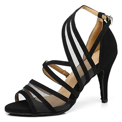 ラテン、サルサタンゴバチャータダンスシューズの女性のストラップスエードサテン/メッシュボールルームウェディング結婚式社会党屋内ダンスシューズ,Black(heel:6cm),40EU
