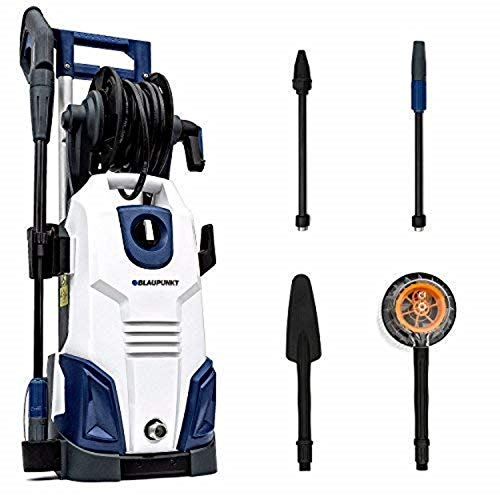 Blaupunkt PW7000 Nettoyeur Haute Pression avec Moteur à Induction 165 Bar 2100W 450 l/h Pompe en Aluminium avec buse Haute/Basse Pression, buse Turbo et kit d'accessoires