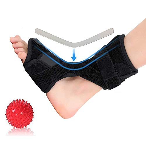 Plantar Fasciitis Brace Support with Massage Ball, Orthotics Drop Foot Brace Night and Day Pain Relief from Plantar Fasciitis, Achilles Tendon Support Stretch, Heel Spurs