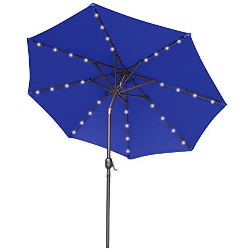 ABCCANOPY 230cm Gartenschirm Sonnenschirm neigbar mit 32 Solar-LED-Lichtern,für Garten,Deck,Schwimmbad,Sandstrand,Blau
