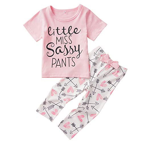 Anmino Baby Girl Clothes Set Baby Girl Pants Set Short Sleeve T-Shirt and Casual Pants 2PCS Casual Summer Outfit Clothes Set
