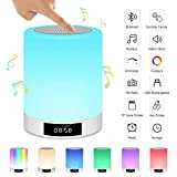 Lampe de Chevet Tactile Rechargeable Portable, Lampe de Table Enceinte Bluetooth...