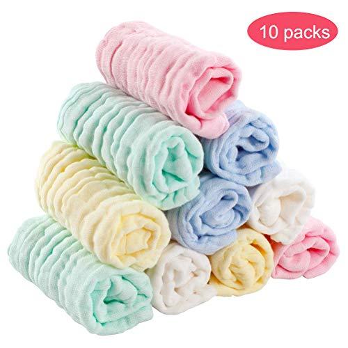 Kikier Baby Plain Wipes, Weiche Baumwolltücher Baby Handtuch Wiederverwendbare Neugeborene Baumwolle Tücher Sechs-Schichten Speichel 10pcs