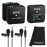 Rode Wireless GO II - Sistema de micrófono inalámbrico de 2 canales (incluye 2 pilas Lavalier GO y paño de microfibra Keepdrum)