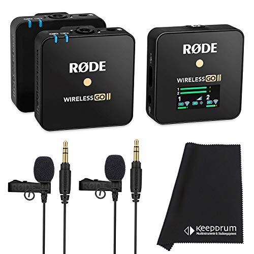 Rode Wireless GO II Sistema microfono wireless a 2 canali, con 2 microfoni Lavalier Go e panno in microfibra Keepdrum
