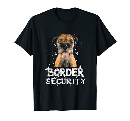 """BORDER SECURITY"" Border Terrier Shirt Cita de perro Vintage Camiseta"