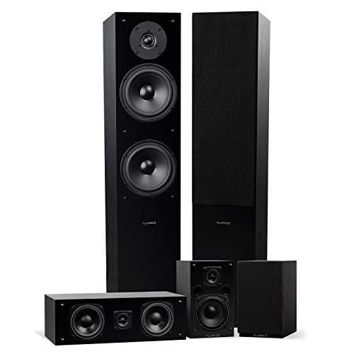 Fluance SXHTB-BK High Definition Surround Sound Home Theater 5.0 Channel Speaker System Including Floorstanding Towers, Center and Rear Speakers (Black Ash)