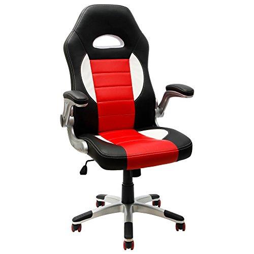 Furmax Executive Racing Style Bucket Seat PU Leather Office Chair Computer Chair 360° Swivel (Black)