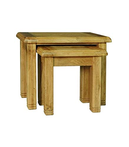 Sassy Home Weathered Oak Nest of Tables, Wood, 55 x 65 x 36cm