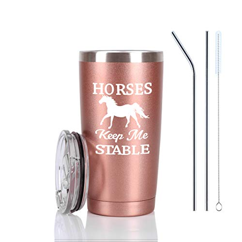 Horse Gifts For Women, Horses Keep Me Stable Travel Tumbler, Funny Birthday Christmas Gifts for Horse Lovers Equestrian Cowgirls Mom Friends Aunt Sister, 20 Oz Insulated Stainless Steel Tumbler