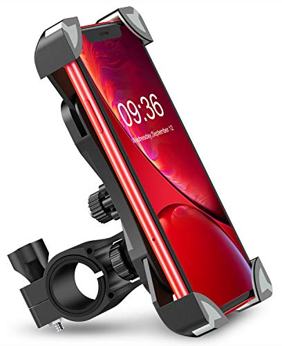 Bike Phone Mount, TEUMI Anti-Shake Bicycle Motorcycle Phone Holder 360° Rotation Universal Cradle Clamp Compatible with iPhone 12/12 Pro/12 Mini/11/11 Pro Max, Samsung Galaxy Note 10 Plus/S20/S10