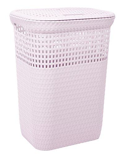 Ondis24 Wäschekorb Wäschepuff Wäschetruhe Sortierkorb belüftet in Rattan Optik aus Kunststoff 60 Liter (rosa)