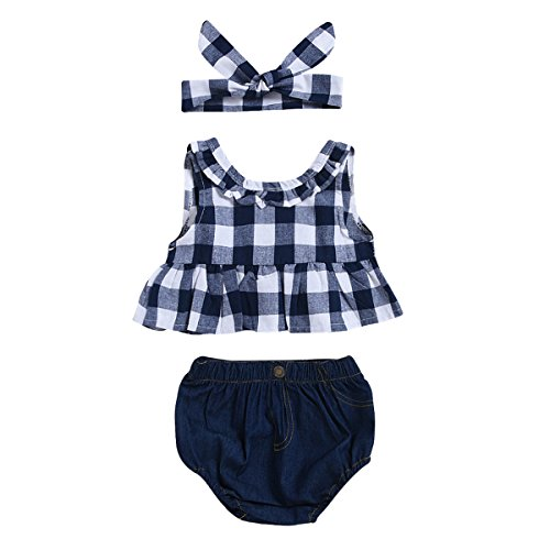 Haokaini 3 stks Baby Blauw Plaid Vest Korte Set Grid Shirt Jeans Hoofdband Outfit Pak voor Baby Peuter