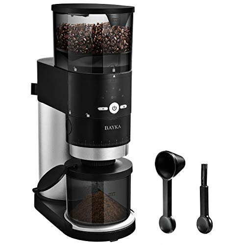 BAYKA Conical Burr Coffee Grinder, Electric Coffee Grinder with Portafilter Attachment and Timer, Stainless Steel Grinder for Spices, Herbs & Nuts with 10 Settings - Black