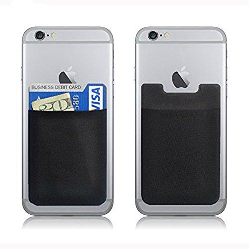 3 piezas para iPhone bolsa flexible de crédito adhesivo tarjeta Buddy Sets titular 3M etiqueta engomada para iPhone 7/7plus 6 6s, Samsung Galaxy S7 S6/Otros Smartphone contraportada (negro)