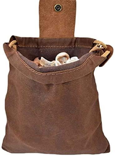 Bolsas de lona para senderismo, bolsas de lona para manualidades, bolsas de comida para exteriores, fáciles de envolver para el cinturón, bolsas plegables de lona para senderismo., marrón,