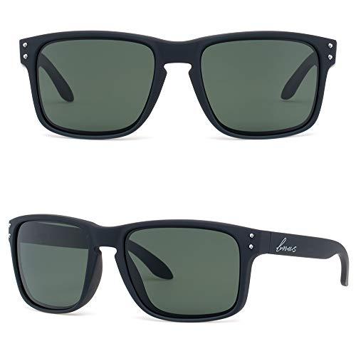 BNUS corning natural glass lenses Polarized sunglasses for men (Black Rubber/Polarized Green G15, Polarized Size:56mm(M))