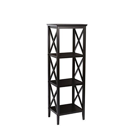 RiverRidge X- Frame Collection 4-Shelf Storage Tower, Espresso