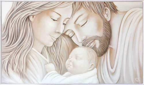 MAZZOLA LUCE Capezzale capoletto Moderno Quadro Sacra Famiglia Dipinto a Mano Cornice Bianca 122x72 per Camera da Letto