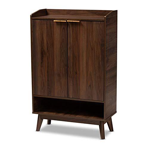 Baxton Studio Mid-Century Lena Wood Shoe Cabinet in Walnut Brown