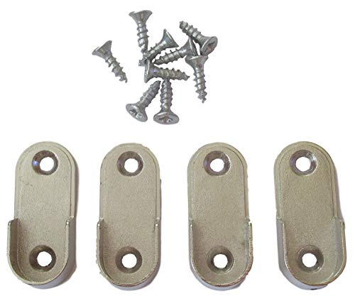 4er Set Schrankrohrhalter OVAL für 30x15mm Schrankrohr mit 8x Schrauben