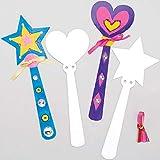 Baker Ross EF622 Haz tus propios espacios en blanco de varita princesa (paquete de 8) ideal para que los niños decoren, artes y manualidades, regalos, recuerdos y más