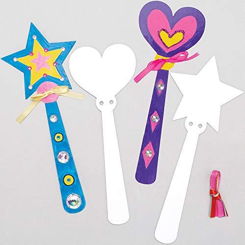Baker Ross Zauberstäbe aus Pappe zum Basteln und Bemalen für Kinder/Mädchen - für Kindergeburtstag und Mottoparty (8 Stück)