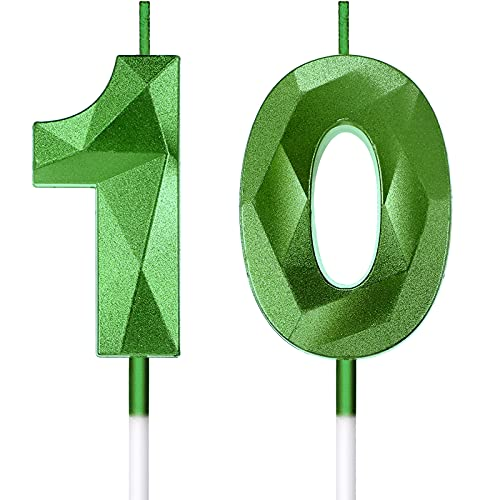 10th Birthday Candles Cake Numeral Candles Happy Birthday Cake Candles Topper Decoration 3D Number Candles Cupcake Topper for Birthday Wedding Anniversary Celebration Supplies, Green