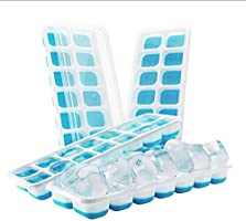 Ice Cube Trays - Silicone Base with lids, Blue, BPA Free Food Grade